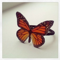 Hair jewelry, Butterfly, Butterfly hair tail holder, Not real butterfly, Monarch butterfly, Pony tail holder, Wing, Orange, bug, Scrunchy