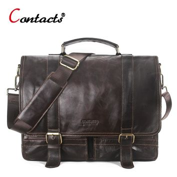 CONTACT'S Genuine Leather Men Messenger Bag Men Leather Handbag Men Shoulder Bag Large Male Briefcase Laptop Crossbody Bag Tote