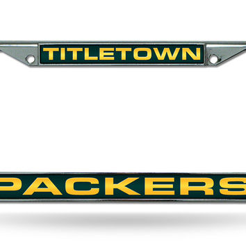 "NFL Green Bay Packers ""Titletown"" Laser Chrome License Plate Frame"