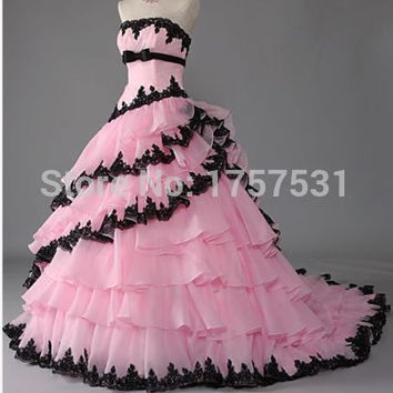 2015 Custom Color Strapless Ball Gown Quinceanera Dress Organza Tiered Layers Summer Prom Dresses Bridal Gown Pageant dress