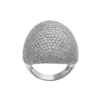 Sterling Silver Pave CZ Abstract Dome Cocktail Ring