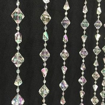 "Crystal Diamond Shaped Beaded Hanging Curtain Prop - 36""x70"" - LCPRPC14AB - LAST CALL"