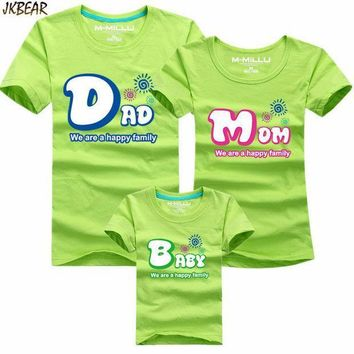 Mother's Day Gift Lovely Family Matching Short Sleeve T Shirts Cute Dad Mom Baby Print Casual Cotton Tee Plus Size S 4xl