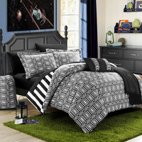 Chic Home 10 Piece Lyon Geometric and Striped printed REVERSIBLE Comforter Set, Includes Sheets, Duffle Hamper and Fleece Throw, Full Size, Black.