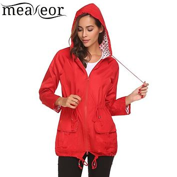 Women's Lightweight Drawstring Hooded Polka Dot Raincoat