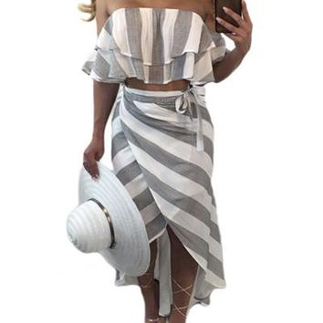 JRRY Casual Two Pieces Strapless Striped Women Maxi Dresses Summer New Hot Selling Long Dress Vestidos