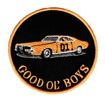 "Vintage Style Dukes of Hazzard General Lee 01 ""Good Ol' Boys"" Iron On Patch 9cm"