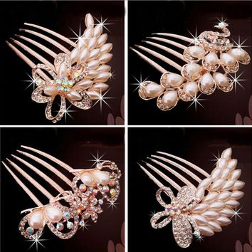 Bridal Tiara Comb Peacock Inserted Five Tooth Pearl Hairpin Hair Jewelry Accessories Elegant Charm New Hot