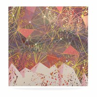 """Marianna Tankelevich """"Pink Space Mountain"""" Multicolor Coral Mixed Media Luxe Square Panel"""