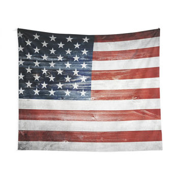 'American Wooden Flag' Wall Tapestry by ngdesign81