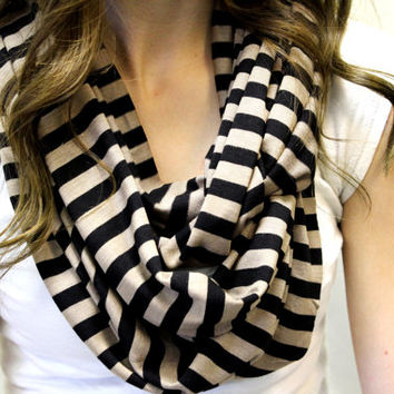 tan and black jersey knit, infinity, loop, tube, scarf, fashion scarves, striped, lines