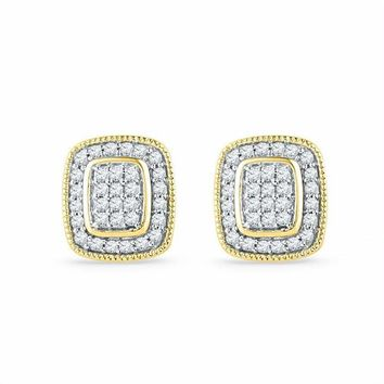 10kt Yellow Gold Women's Round Diamond Square Cluster Stud Earrings 1-4 Cttw - FREE Shipping (US/CAN)