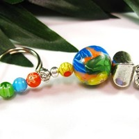 Unique Key Ring with Handmade Polymer Clay and Coordinated Glass Beads