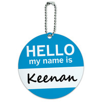 Keenan Hello My Name Is Round ID Card Luggage Tag
