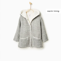 KNIT DUFFLE COAT WITH FLEECE DETAILS