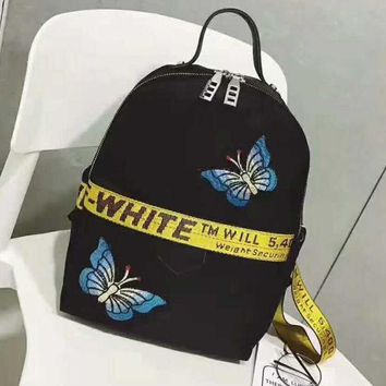 Kalete OFF WHITE Black butterfly embroidery Laptop Bag Shoulder School Bag Backpack H-A-GHSY-1