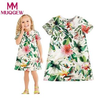 summer baby girl dress Cotton Blend kid mini dress Floral Flower short sleeve o neck infant flower Princess A line clothing 2-7Y