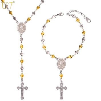 U7 New Rosary Necklace Cross Jewelry Set With Heart Charm Trendy Y-Shaped Long Necklace Bracelet Christian Prayer Women2016 S845