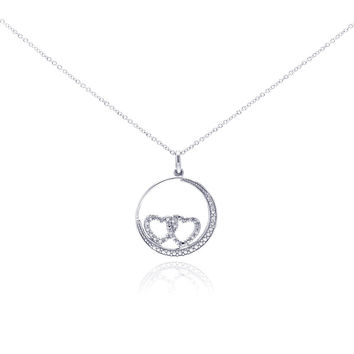 .925 Sterling Silver Rhodium Plated Clear Diamond Double Heart Circle Pendant Necklace 18 Inches