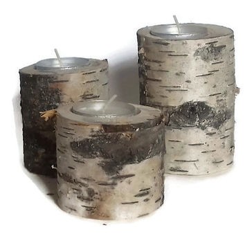 Rustic Wood Candle Holders, Birch Candle Holders, Candle Holders, Wood Candle Holders, Nature Decor, Rustic Candle Holders, Rustic Wood