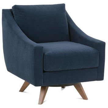 Darek Velvet Swivel Chair, Indigo, Accent & Occasional Chairs
