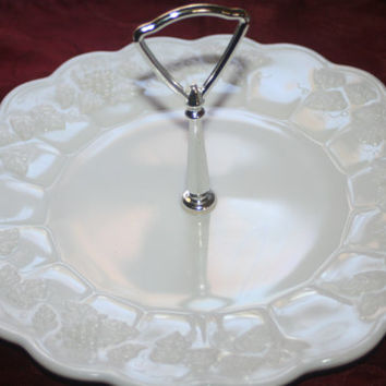 Vintage Westmoreland Paneled Milk Glass Tray