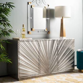 "Safavieh Couture Sylas Sunburst 3-Door Sideboard / Silver - 60""w x 17.7""d x 31.5""h 