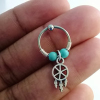 316L Surgical Steel wire wrapped captive ring Helix, cartilage earring turquoise stone and tiny dreamcatcher charm