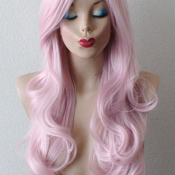 Pink hair wig. Pastel light pink hair Long curly hairstyle Heat resistant Daily wearing / Cosplay wig