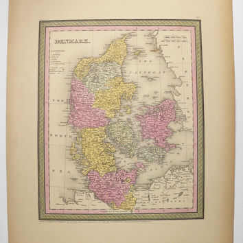 1852 Mitchell Map Denmark, Antique Denmark Map, Original Vintage Map, Danish Decor Gift for Her, Wedding Gift for Couple, Danish Genealogy