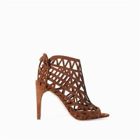 ZARA WHISKY BROWN OPEN WORK WEAVE HIGH HEEL ANKLE SHOE BOOTS SIZE UK6 US8 EUR39