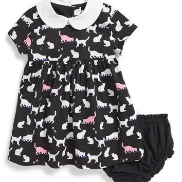 Infant Girl's kate spade new york kids 'kimberly' cat print fit & flare dress & bloomers,