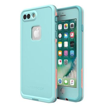 DCK4S2 Lifeproof 77-56983 FR¨¥ SERIES Waterproof Case for iPhone 8 Plus & 7 Plus (ONLY) - Retail Packaging - WIPEOUT (BLUE TINT/FUSION CORAL/MANDALAY BAY)