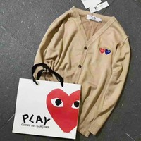 Comme Des Garcons Play Hot Sale Men Women Couple Long Sleeve Tee Shirt sweater Coat Khaki I-A-XYCL Tagre™