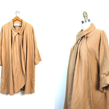 Camel Brown Wool Cape Coat 60s Mod Jacket Peter Pan Collar Cloak Hippie Tan Boho 1960s Vintage Bohemian Poncho Button Up Small Medium Large