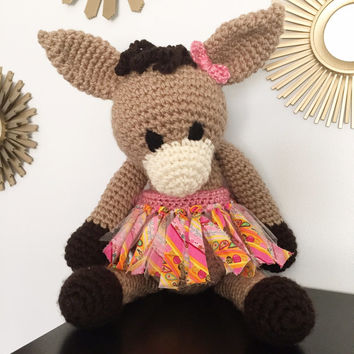 Super soft amigurumi, Large stuffed donkey, Cute childrens toy, nursery decoration, handmade crochet stuffed animal, Ready to ship