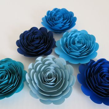 "Boy baby Shower Decor, Shades of Blue 3"" Roses, Set of 6 Paper Flowers, Teal, Bright, Pastel Bridal Shower Decorations, Bedroom Decor, Nursery Wall Art"