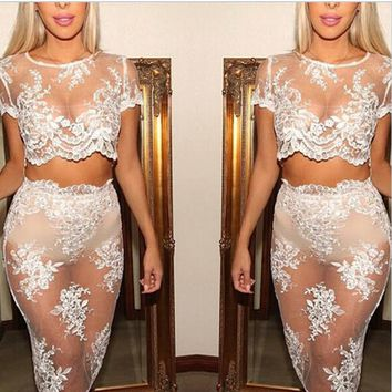 SEXY TWO PIECE LACE PERSPECTIVE DRESS HIGH QUALITY