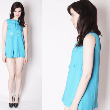 60s Vintage Mod Micro Mini Short Babydoll Turquoise Dress / Short 60s Dress / 1960s Tunic / Blue 1960s Mod Dress / 2223