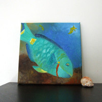 Original Painting, BLUE PARROT FISH, 8x8 Oil on Canvas, Home Decor, Tropical Art, Beach Art, Queen Angel, Blue Tang, Banner Fish