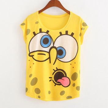 New 2016 summer for Tshirt women style thin plus size loose batwing sleeve women's T-shirt minion and Spongebob print Tops Tees