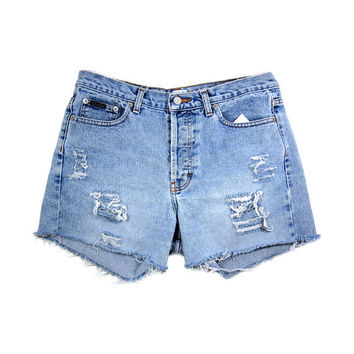 High Waisted Denim Shorts Cut Offs / 32 Waist