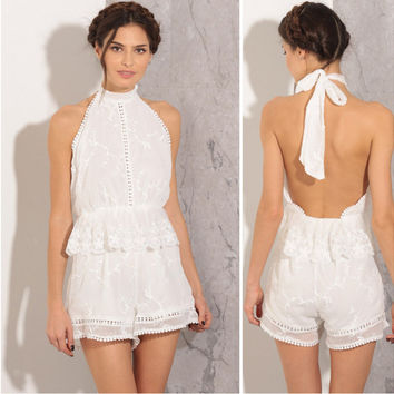 White Halter Bow Tie Flounced Cut Out Lace Romper