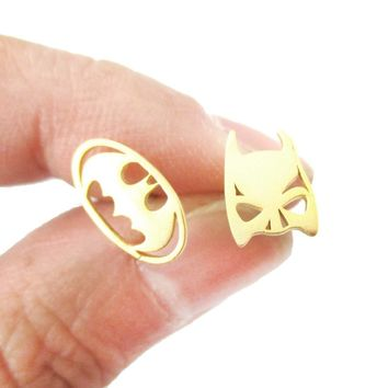 Batman Logo Symbol and Bat Mask Shaped Stud Earrings in Gold | Allergy Free