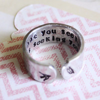 what you seek is seeking you, rumi, rumi quote, yoga ring, bird, feather, inspirational quote ring, secret message ring, quote ring