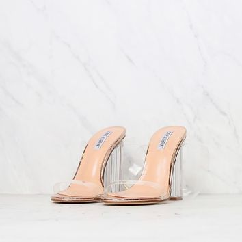 Rose Gold Transparent Ankle Strap Chunky Block High Heel