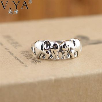 V.Ya Authentic 925 Sterling Silver Rings for Women Cute Elephants Thai Rings Micro Pave for Girls Party Jewelry Charms Drop Ship