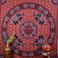 Elephant Indian Tapestry Hippie Decor Bedspread Twin Double Bedsheet DBS103