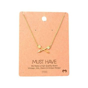 Must Have-Criss Cross Arrow Necklace ,Gold