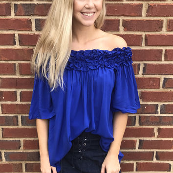 Shruggin' Shoulders Top - Blue